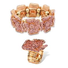 PalmBeach Pink Crystal Rose Gold-Plated Multi-Petal Flower Stretch Bracelet and Ring Set Bold Fashion