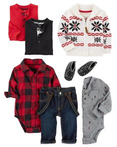 A ready-to-go outfit, this plaid bodysuit, comfy denim pants, and elastic suspenders get him out the door in no time. Mix and match with thermal bodysuits and this zip-up snowflake jacket for extra style and warmth!