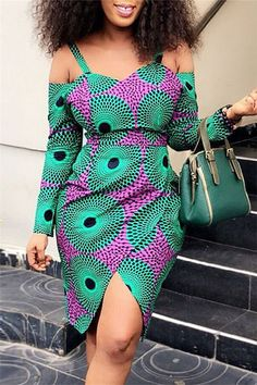 Off The Shoulder Printed Bodycon Dress African Dresses For Kids, African Inspired Fashion, Latest African Fashion Dresses, African Dresses For Women, Dress Shirts For Women, African Print Fashion, African Attire, African Tops, African Outfits
