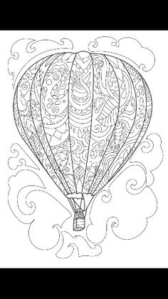 Hot Air Balloons Adult Colouring By Lizzie Preston