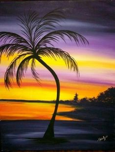27 ideas palm tree painting easy to draw Simple Acrylic Paintings, Seascape Paintings, Tree Painting Easy, Palm Tree Drawing Easy, Spray Paint Art, Tropical Art, Jolie Photo, Beach Art, Pictures To Paint