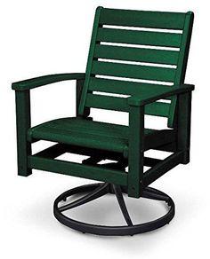 Polywood 1930-12GR Signature Swivel Rocker Chair Textured Black / Green Finish