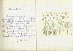 Le cahier de récitations : on écrivait la poésie sur la page de gauche et sur la page de droite, on illustrait le texte avec des crayons de couleurs