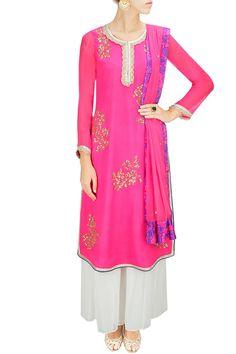 Bright pink embroidered anarkali set with white sharara pants. By Amrita Thakur. Shop now at www.perniaspopups... #designer #jewellery #fashion #indian #perniaspopupshop #happyshopping