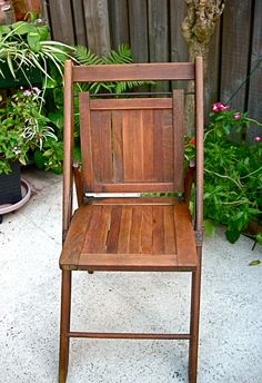 Vintage Wooden Folding Chair, via Etsy.