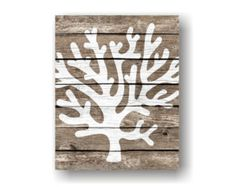 Sea Coral Art Print - Rustic Wood Wall Art, Faux Wood, Ocean Bathroom, Nautical Art, Beach Bathroom Art, Natutical Bedroom,Coastal Art Print