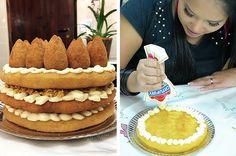 Se você ficou interessado no bolo de coxinha, aqui está o tutorial