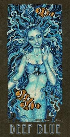 Sarah B. Seiter - - Do not use without permission - Colored Pencil This was an experiment in using a limited number of colors in an image. Real Mermaids, Mermaids And Mermen, Webbed Hands, Mermaid Artwork, Sarah B, Merfolk, Fantasy Creatures, Deep Blue, Colored Pencils