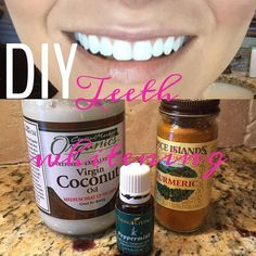 Natural Teeth Whitening Remedies 1 tsp coconut oil 1 tsp Turmeric spice and a few drops of peppermint - Teeth Whitening Remedies, Natural Teeth Whitening, Whitening Kit, Turmeric For Teeth Whitening, Coconut Teeth Whitening, Ayurveda, Turmeric Spice, Turmeric Tea, Coconut Oil For Teeth