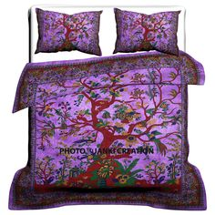 Indian Tree Of Life Mandala Blanket Indian Cotton Duvet Doona Bedspread Covers Comforter Cover, Duvet Bedding, Bed Duvet Covers, Duvet Cover Sets, Purple Duvet Covers, Comforter Sets, Mandala Blanket, Mandala Duvet Cover, Handmade Duvet Covers