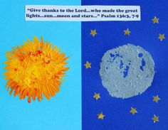 Get your kids painting with this Sun, Moon and Stars Craft. They'll love painting ideas like this one because they get to use sponges. Sponge painting is always a cool idea for kids because sponges are cheap to buy.