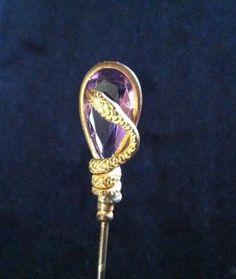 Antique Hat Pin Golden Serpent Snake Cobra on Amethyst Rhinestone