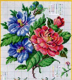 Fleurs stitch by rosalyn Cute Cross Stitch, Cross Stitch Rose, Cross Stitch Flowers, Cross Stitch Charts, Cross Stitch Designs, Cross Stitch Patterns, Cross Stitching, Cross Stitch Embroidery, Embroidery Patterns