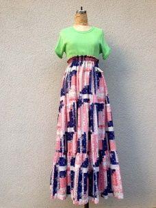 画像1: vintage パッチワーク柄 2WEY ロングスカート (1)