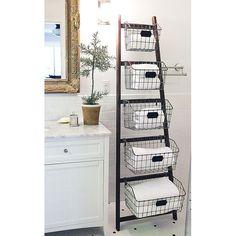 DIY this . Wood Ladder & Wire Basket Organizing System