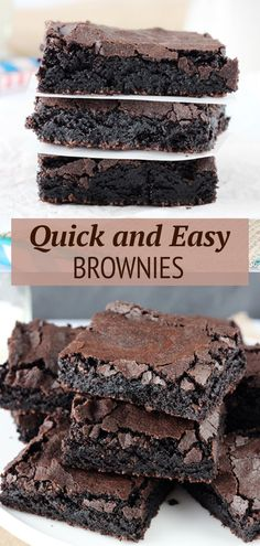 This Easy Homemade Brownies Recipe makes cakey brownies that taste like box mix brownies! With perfect crisp crackly tops and chewy centers, these brownies hit all the right notes!