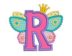 Fairy Letter R Alphabet for Lil Princess Wings by EmbroideryLand