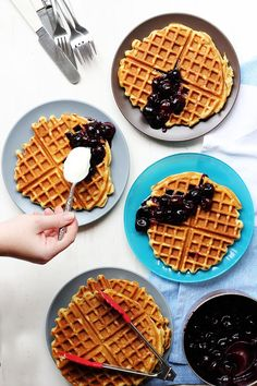 Beer Waffles with Maple Cherry Compote