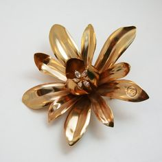 vintage gold CHANEL flower pin rhinestone jewel by mad4modvintage, $249.00