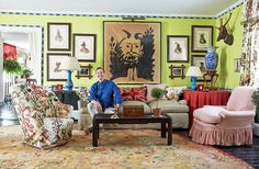 No matter where your eye lands in Jeffrey Bilhuber's living room, it will be on something visually arresting, from the ink drawing surrounded by McKenney & Hall Native American portraits to the Brunschwig & Fils Les Lac floral upholstery.