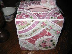 TREASURY ITEM  Broken China Mosaic Tissue Box   Pink by thooker, $85.00