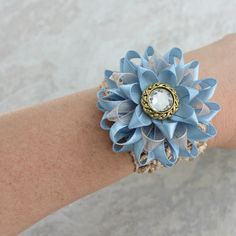 French Blue Corsage Light Blue Corsage Blue Wrist Corsage Flower Beige and Blue Flower Corsage Champagne and Blue Wedding Blue and Tan