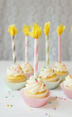 "Paper Straw ""Birthday Candles"" - no real candles allowed, but how cute are these straw and tissue paper versions?"