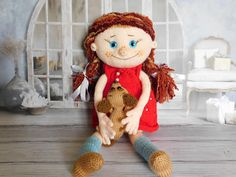 Knitted doll Bright character doll Personalized stuffed toy