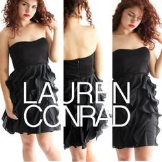 Lauren Conrad black strapless ruffled party dress This little black ruffled cocktail dress by Lauren Conrad has been previously worn but there are many parties left in this perfect LBD. The bodice has stays and gummy trim inside so you can party all night just like LC in the OC. The sheer vertical layers of ruffles add movement to your dance moves. Seriously the most wearable dress ever. True confessions, there is the tiniest bit of pilling on the bodice which we didn't even notice until we…