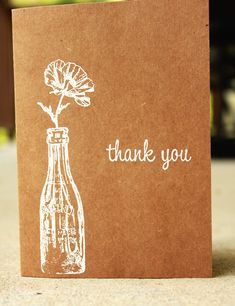 Rustic Thank You Card Kraft Thank You Card Wedding by SweetSights, $6.99