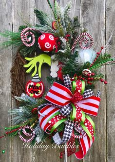 Mean One Grapevine by Holiday Baubles Whoville Christmas Decorations, Grinch Christmas Party, Whimsical Christmas, Holiday Wreaths, Christmas Holidays, Christmas Crafts, Grinch Party, Xmas, Martha Stewart Christmas