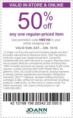 50% off any one regular-priced item at Jo-Ann Fabrics! #coupon
