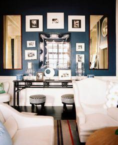 navy blue living room - sherwin-williams Naval or benjamin moor New York State of Mind