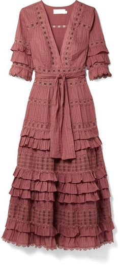Zimmermann - Corsair Tiered Broderie Anglaise Cotton Midi Dress - Antique rose