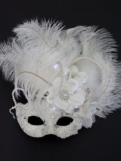 Unique Wedding Ivory White Light Up Venetian Masquerade Mask Luxury Beauty - http://amzn.to/2jx73RT