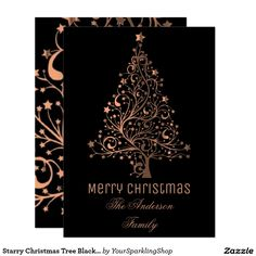 Starry Christmas Tree Black Brown Copper Metallic  #ChristmasCard
