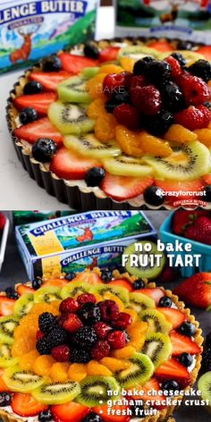 EASY No Bake Fruit Tart recipe - graham cracker, crust, cheesecake filling, gorgeous fruit topping with glaze - this easy summer recipe is so delicious. Summer Pie, Easy Summer Meals, Easy Fruit Tart, Fruit Flan, No Bake Cheesecake Filling, No Bake Pies, Best Fruits, Tart Recipes, Layer Cakes