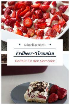 Tiramisu ist der Dessert-Klassiker schlechthin. Auch im Sommer! Damit allerdings dieses Dessert noch sommerlicher wird, habe ich es mit Erdbeeren und Kokosraspeln gemacht. Super lecker! Und trotz der vielen Kalorien schmeckt dieses Tiramisu Rezept auch leicht und erfrischend. Übrigens, da dieses Tiramisu Rezept ohne Ei und Alkohol gemacht ist, ist es auch perfekt für Schwangere und Kinder geeignet. #tiramisurezept #tiramisurezeptohneei #tiramisurezeptkinder #erdbeerenrezepte