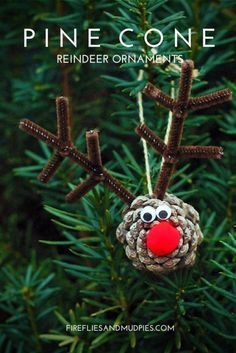 Pine Cone Reindeer Ornaments are a funny Christmas crafts for kids! - Crafts for Kids Christmas Activities, Christmas Crafts For Kids, Homemade Christmas, Christmas Humor, Holiday Crafts, Christmas Holidays, Preschool Christmas, Holiday Decorations, Pinecone Crafts Kids