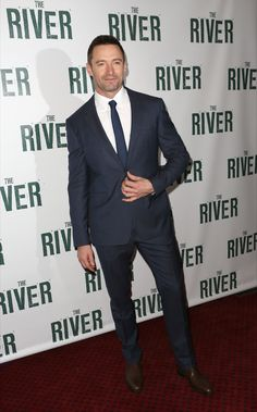 Australian actor Hugh Jackman wearing Burberry tailoring to the opening night of The River on Broadway