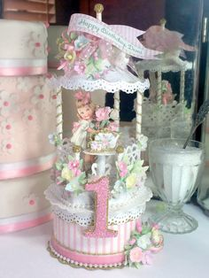 This darling Tea Party birthday cake topper is handmade with every attention to detail - from the layers of glitter and paper lace, vintage Victorian Tea Party, First Birthday Cake Topper, Shabby Chic Crafts, Paper Lace, Tea Party Birthday, Velvet Ribbon, First Birthdays, Vintage Cards, Vintage Paper