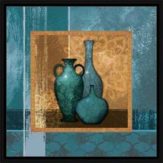 Modern Moroccan Textured Pots Vessels Still Life Painting Blue & Tan, Framed Canvas Art by Pied Piper Creative Carillons Diy, Textured Canvas Art, Cheap Art, Modern Moroccan, Beginner Painting, Pottery Painting, Canvas Frame, Flower Art, Still Life