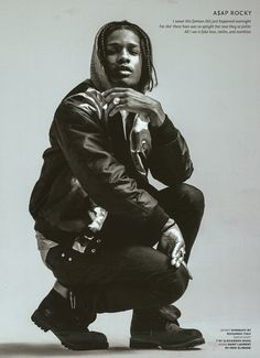 A$AP Rocky wears Men's Fall 2013 T by Alexander Wang Poly Rayon Fleece Zip Up Hoodie in the Fall/Winter issue of V Man.