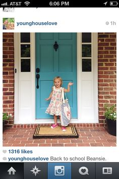 Young house love- Benjamin Moore blue lake Both the door and Clara; Adorable. This is my favoritest door and my inspiration for our next house. LOVE!!