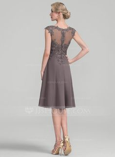 A-Line/Princess Scoop Neck Knee-Length Chiffon Lace Mother of the Bride Dress (008107657)