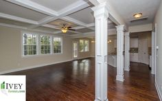 Open designs and lots of moldings are in abundance in this home  Can you see yourself in this space? #iveyhomes #newhome #design #interior #family #hardwoodfloors Ivey Homes is a local Augusta GA home builder. Homes from the Low $100's to custom.