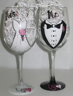 Hand Painted Personalized Wine Glasses and Other Gifts for the Bride, Groom, Bridesmaids, Groomsmen, and Weddings Designed by St. Wine Glass Crafts, Wine Craft, Hand Painted Wine Glasses, Painted Wine Bottles, Personalized Wine Glasses, Personalized Wedding Gifts, Wedding Glasses, Wedding Favors, Wine Glass Candle Holder