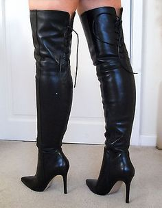 bea0d4c85b0 NEW REAR LACE Soft Leather High Heel Overknee Over Knee Thigh Boots 7 40  9.5. ACASADO · Botas