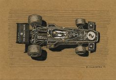 """Ronnie Peterson - Lotus 72D 1973 Grand Prix de Monaco I did this sketch between busy spells at work today. If you know of the source photographer, please notify me. Pen & ink and white markers on 9""""x 6.25"""" medium brown paper.  © Paul Chenard 2017 Original art available, as are limited editions."""