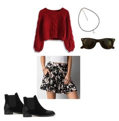 """""""-"""" by erica-kent ❤ liked on Polyvore featuring Chicwish, American Eagle Outfitters and Ray-Ban"""